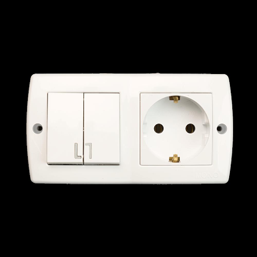 Set intrerupator dublu si priza simpla cu contact de protectie Octans, alb, plastic imagine 2021 mathaus