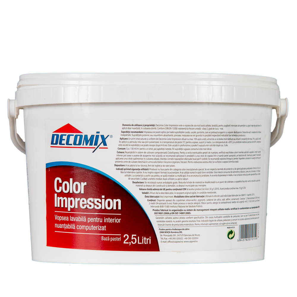 Vopsea pentru interior, Decomix Color Impression Baza Pastel, 2,5 L