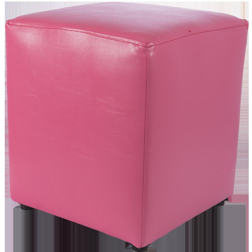 Taburet Cube tapiterie piele ecologica roz IP 21896 45x37x37 cm