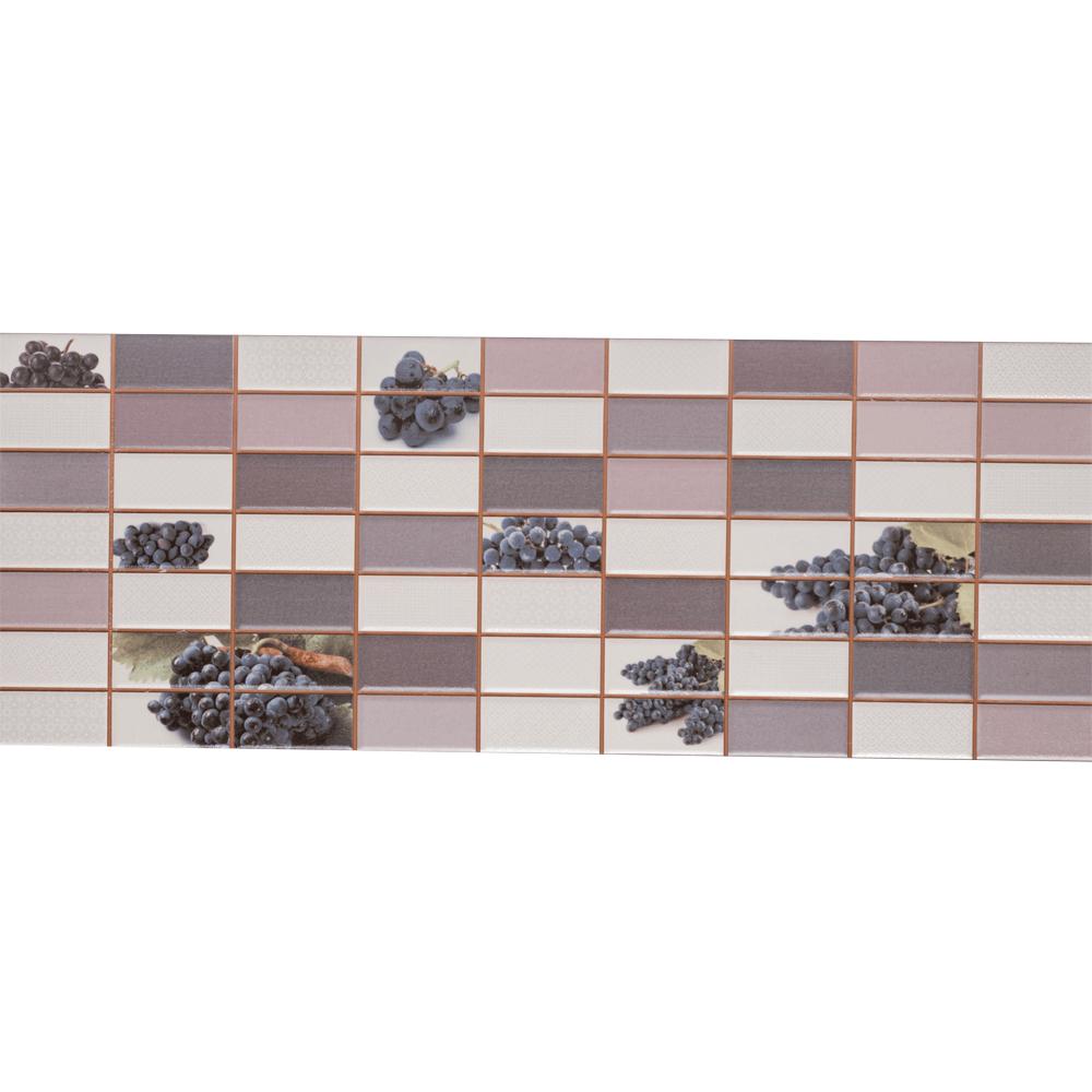 Faianta decorativa Dual Gres Dglam, finisaj estetic, mov, alb si maro, model geometric cu struguri, 22,5 x 60 cm mathaus 2021