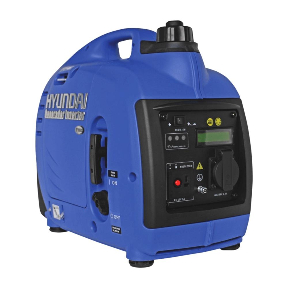 Generator de curent digital HY1000Si Hyundai motor HX144F, 1 kW, 4 timpi, 1,8 CP, pornire mecanica, insonorizat, senzor lipsa ulei, regulator tensiune imagine MatHaus.ro