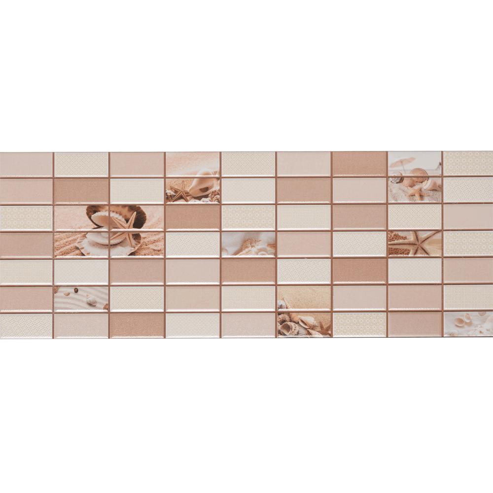 Faianta decor Dual Gres Dglam, finisaj estetic, bej, model geometric cu elemente specifice plajei, 22,5 x 60 cm