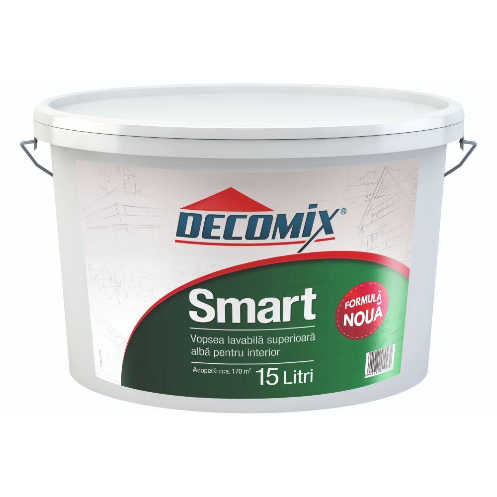 Vopsea lavabila interior, Decomix Smart, alba, 15l