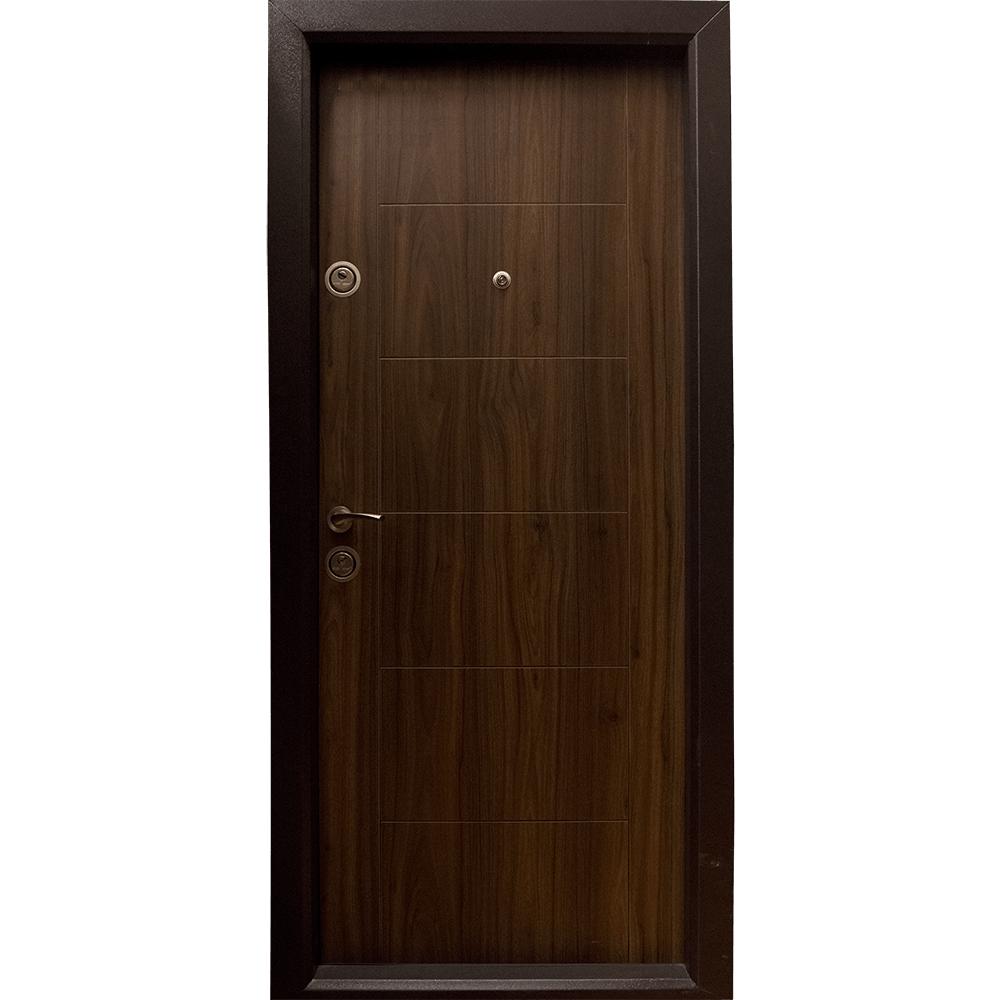 Usa metalica intrare Arta Door 304, cu fete din MDF laminat, 880 x 2010 mm, deschidere dreapta, culoare nuc mathaus 2021