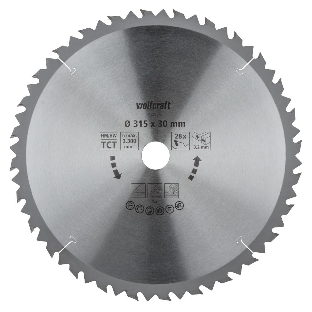 Panza pentru fierastrau circular Wolfcraft, 28 de dinti, diametrul 315 mm imagine MatHaus.ro