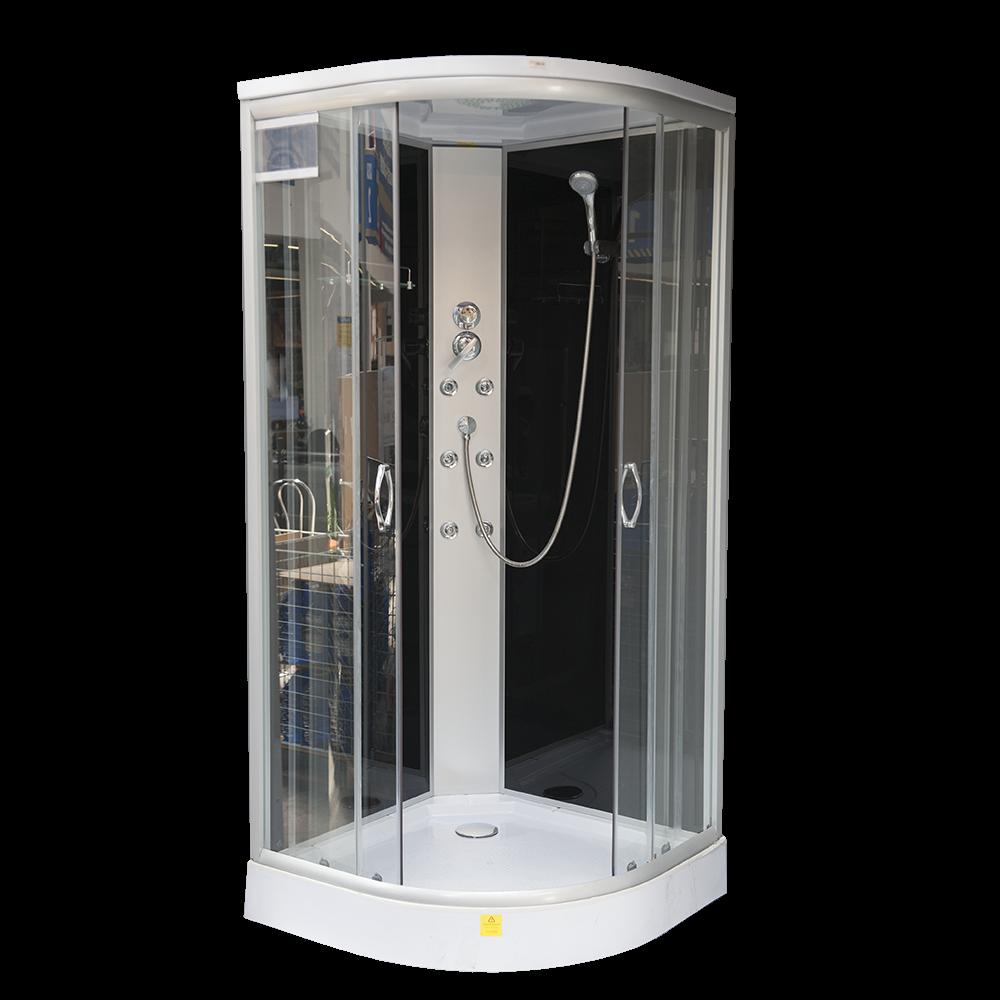 Cabina dus hidromasaj Sanotechnik TC 07, material profil aluminiu, 4mm, cadita semirotunda, 90 x 90 x 210 cm imagine MatHaus