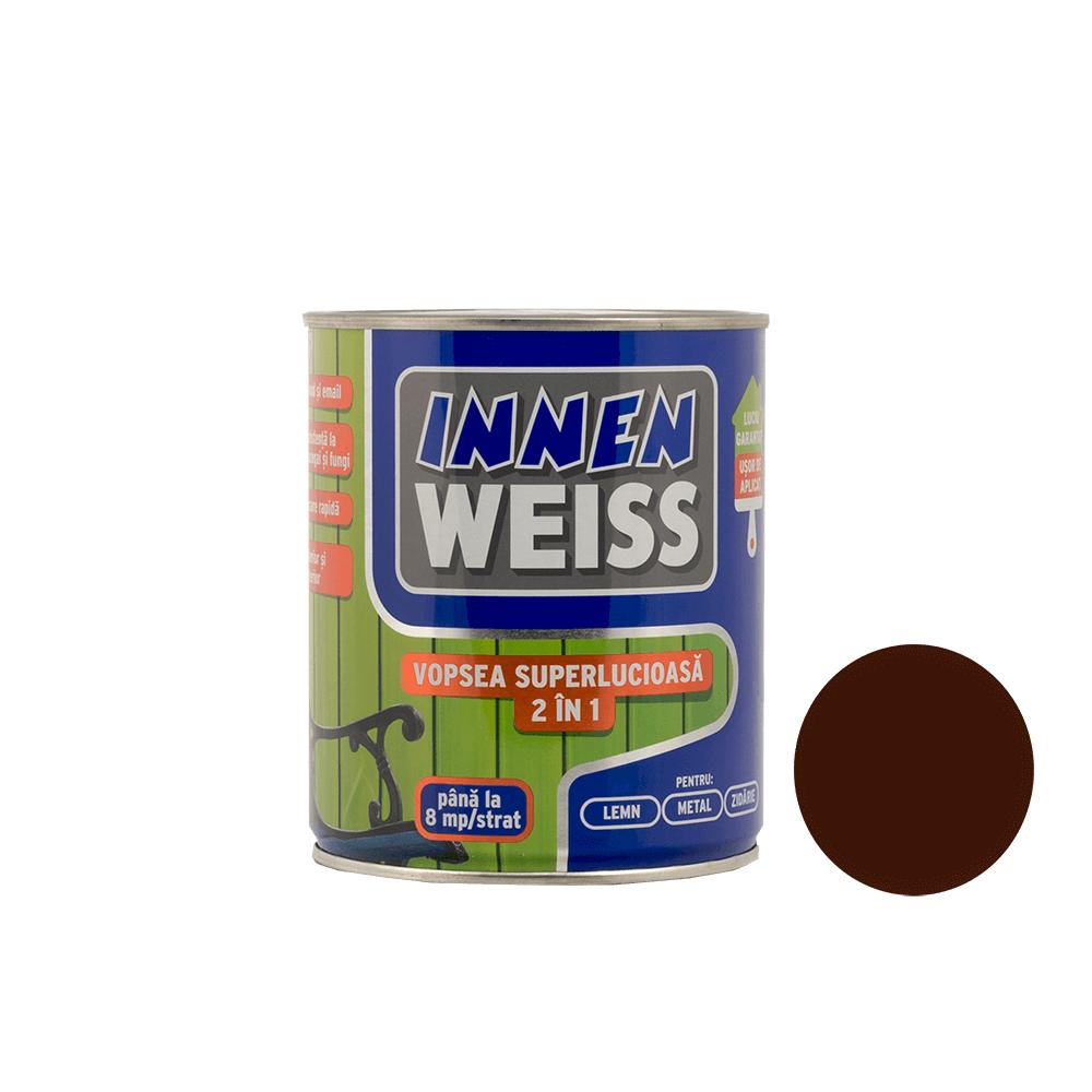 Vopsea superlucioasa Innenweiss 2 in 1, interior si exterior, brun, 0,6 L imagine MatHaus.ro