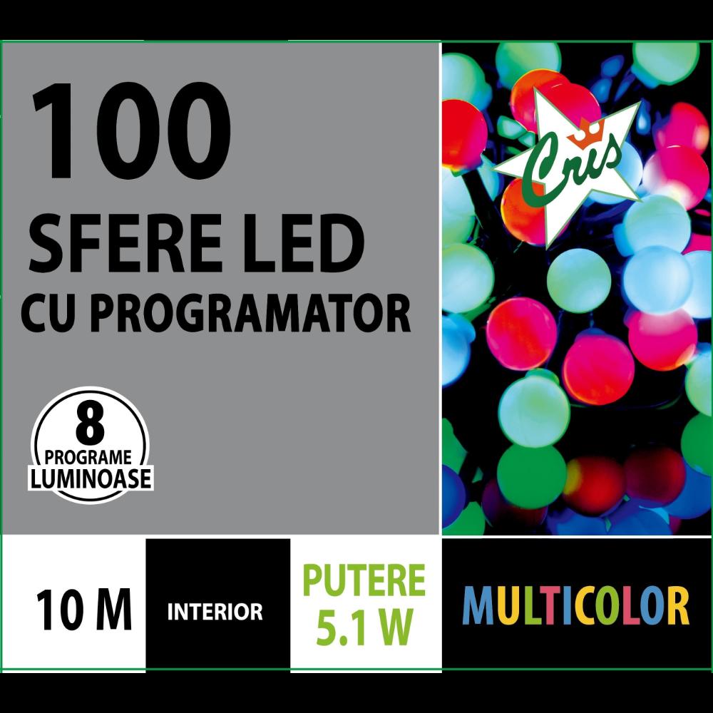 Instalatie brad Craciun, Cris, 100 LED-uri berry multicolore, 10 m, programator, interior, alimentare retea imagine 2021 mathaus