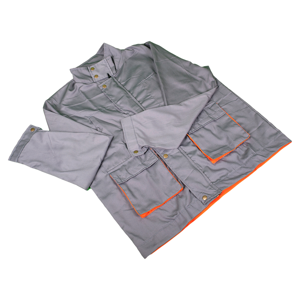 Jacheta de lucru Samoa cu 2 buzunare laterale, marimea 48, gri/portocaliu mathaus 2021