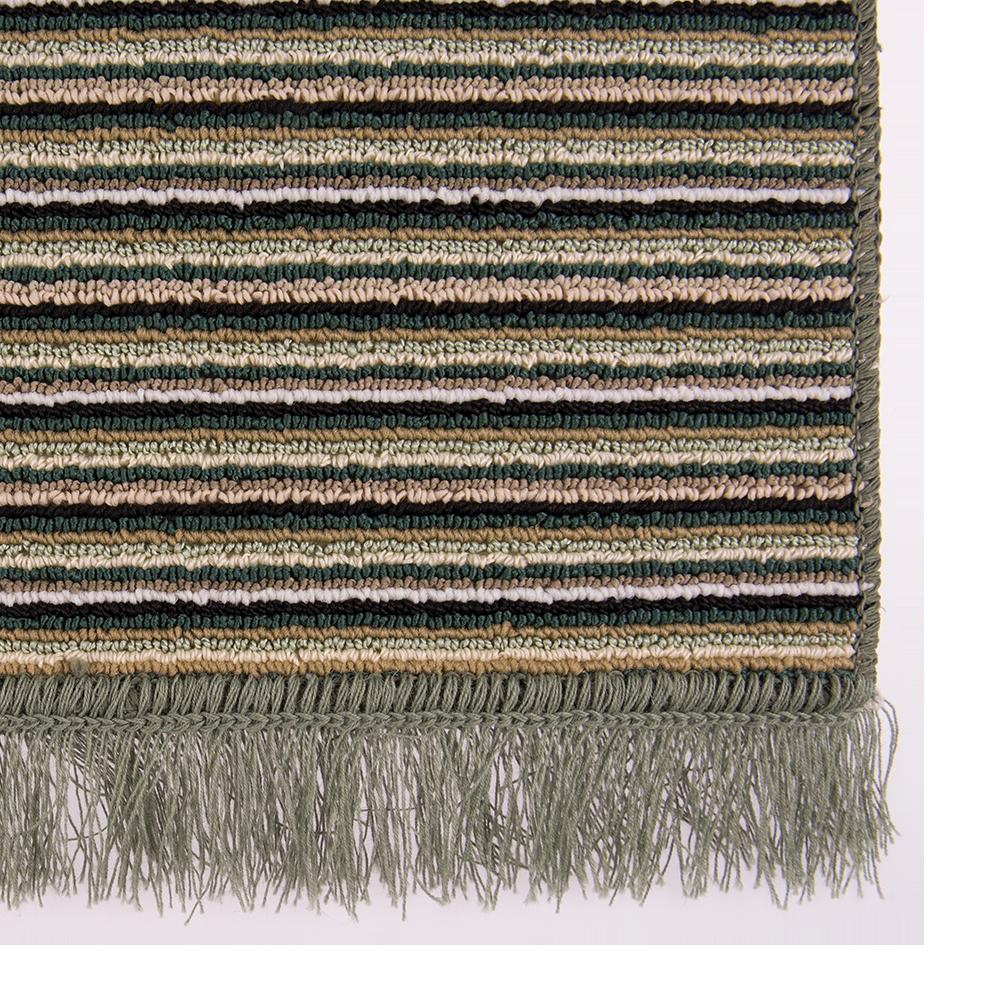 Covor bucatarie Niagara, 100% polipropilena, model cu dungi verde-bej, 65 x 135 cm