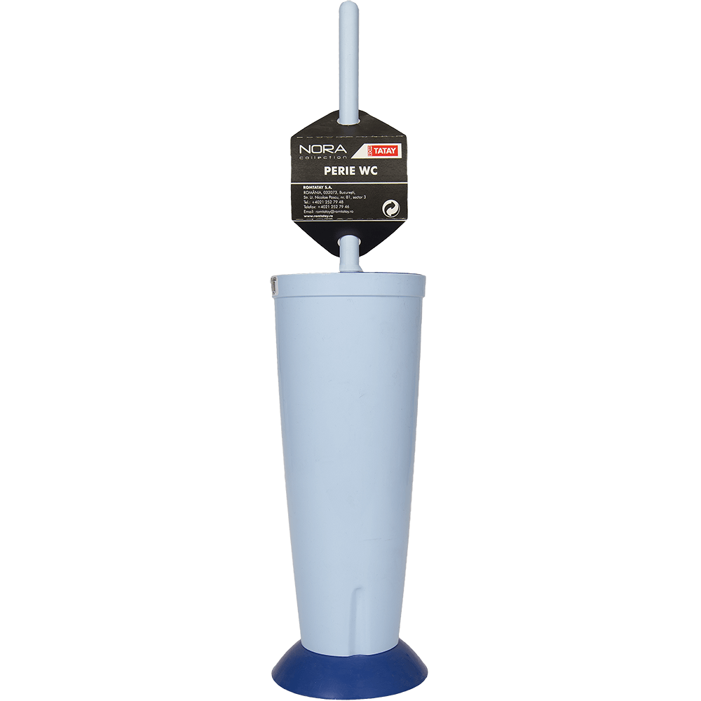 Perie si suport cu capac WC Nora, plastic, bleu, 10 x 42 cm imagine 2021 mathaus