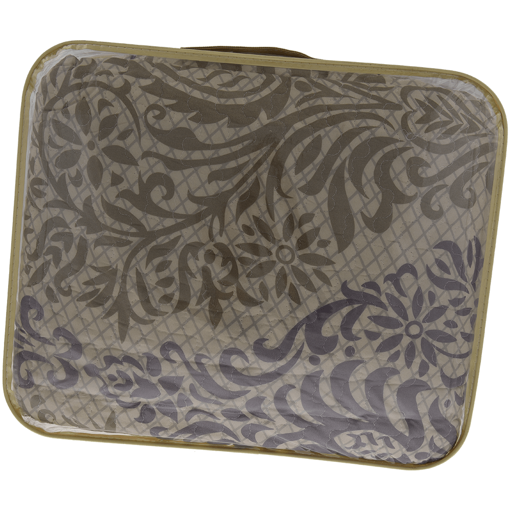 Cuvertura matlasata cu fata de perna, poliester, 160 x 230 cm, maro, imprimeu mathaus 2021