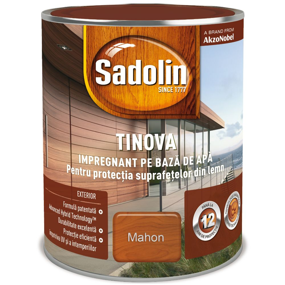 Impregnant pe baza de apa, Sadolin Tinova, pentru lemn, mahon, 0,75 l imagine 2021 mathaus
