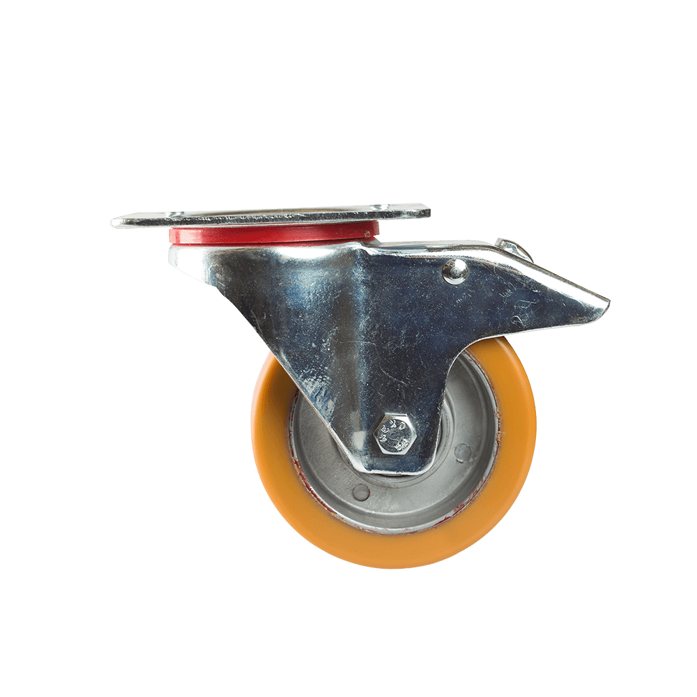 Rola pivotanta cu placa si frana, poliuretan, 100 x 38 mm, 180 kg mathaus 2021