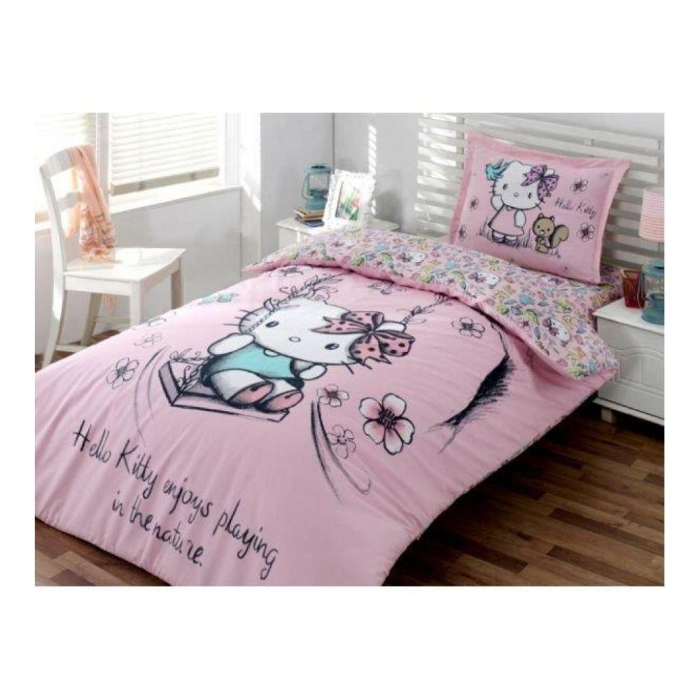 Lenjerie de pat pentru copii Hello Kitty Nature, 1 persoana, bumbac 100%, 3 piese, roz