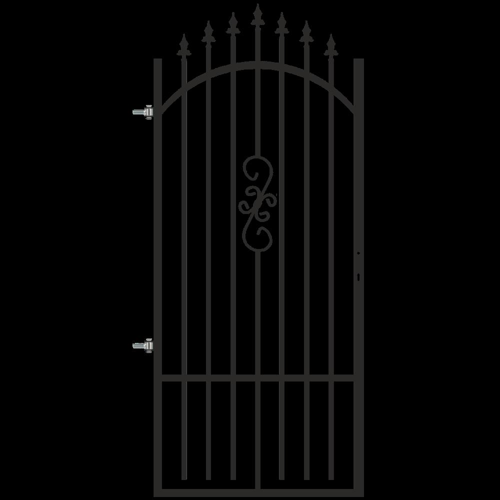Poarta pietonala Morena, negru RAL 7016, 0,9 x 1,8 - 2 m, stanga