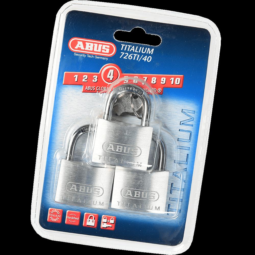 Set 3 lacate din aluminiu, Abus Titalium 726TI, l 40mm, 4 chei mathaus 2021