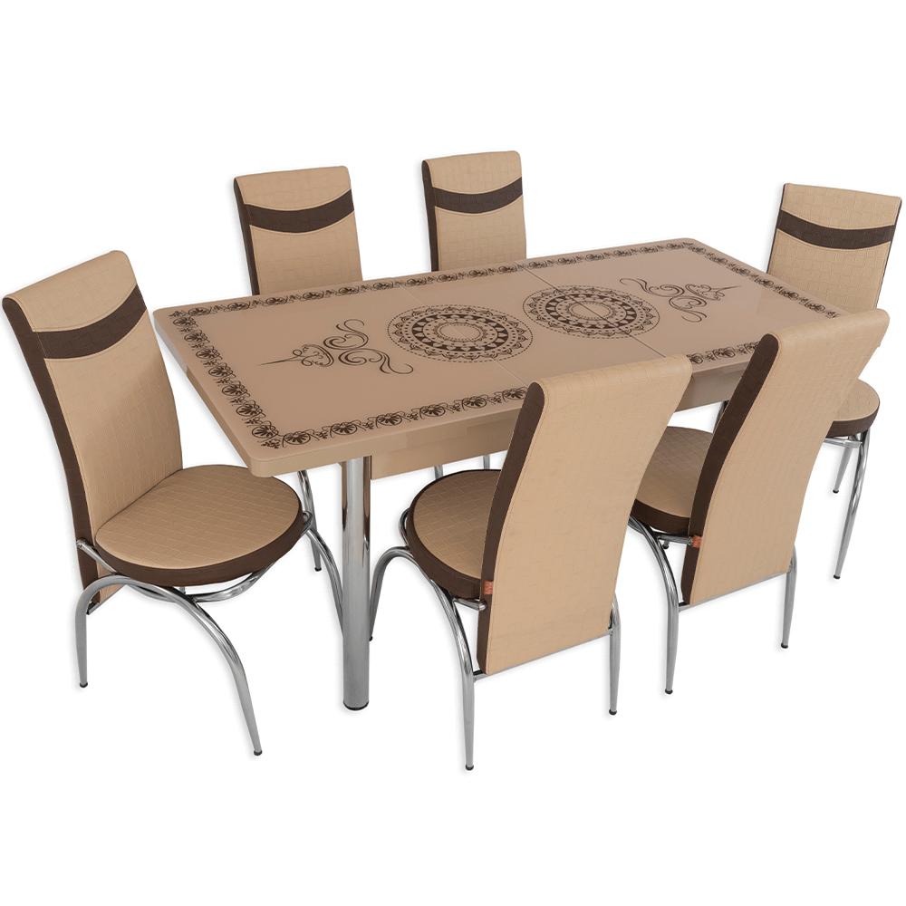 Set masa extensibila Oriental brown, crem/maro, 6 scaune imagine 2021 mathaus
