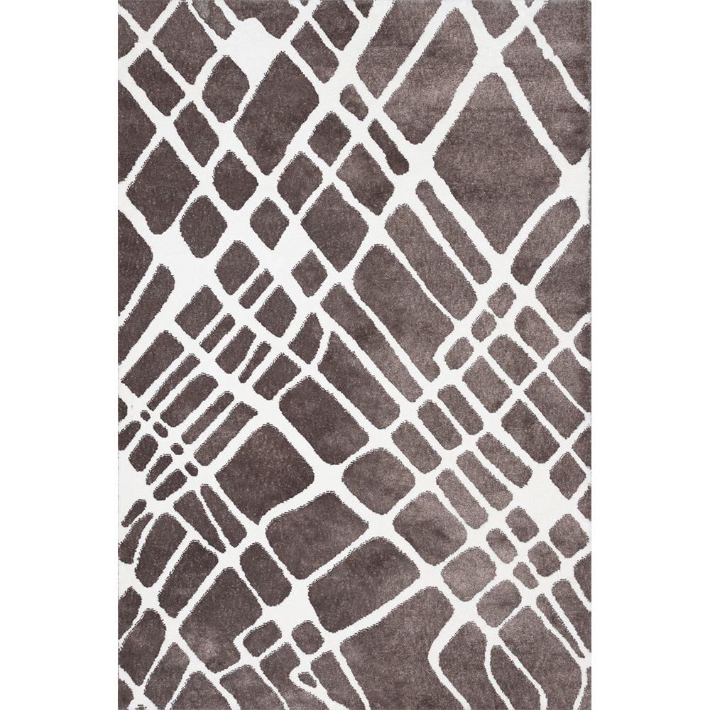 Covor modern Sintelon Creative O 07BWB 1K, poliester, model dungi alb, maro, 70 x 140 cm imagine MatHaus.ro