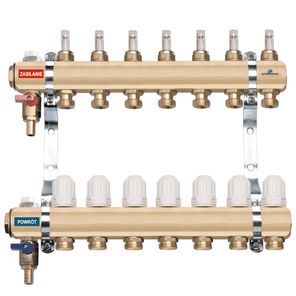 Set distribuitori RZP04S Ferro, 4 circuite, alama, 1 inch