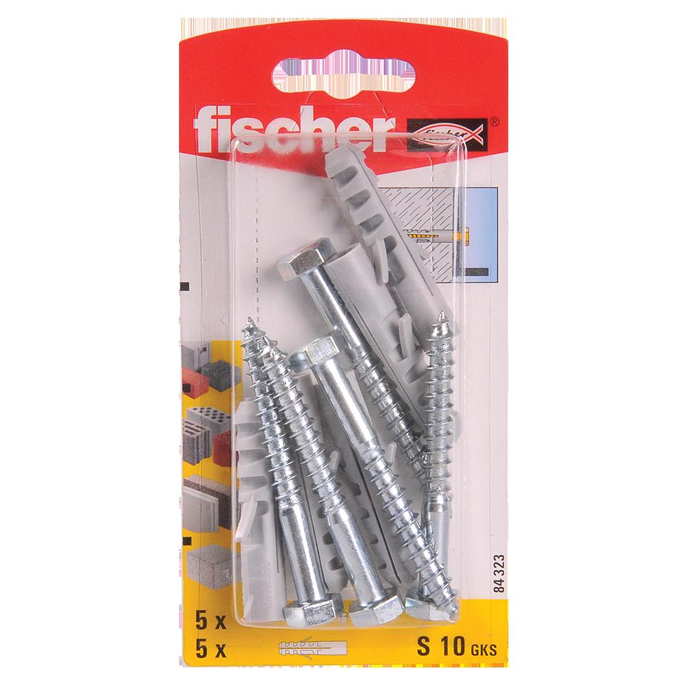 Diblu din nailon cu surub, Fischer S, 10 x 50 mm, 7 x 65 mm, 5 buc imagine MatHaus