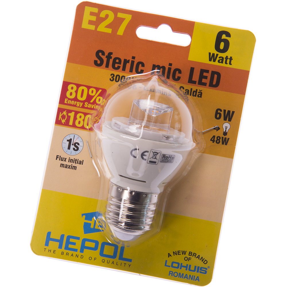 Bec Led Sferic E27 6 W Hepol mathaus 2021