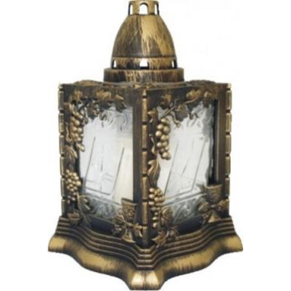 Candela tip felinar, auriu + alb, 14,5 x 23 cm imagine 2021 mathaus