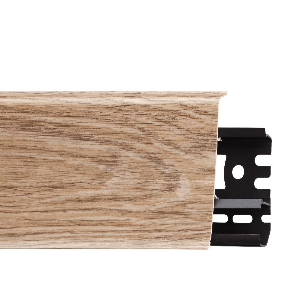 Plinta parchet, cu canal cablu, PVC, stejar holm, INDO 70, 2500 mm imagine MatHaus