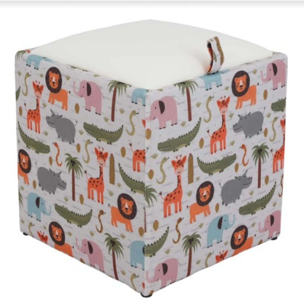Taburet Box piele ecologica, microfibra, alb, cu depozitare, 37 x 37 x 42 cm imagine MatHaus.ro