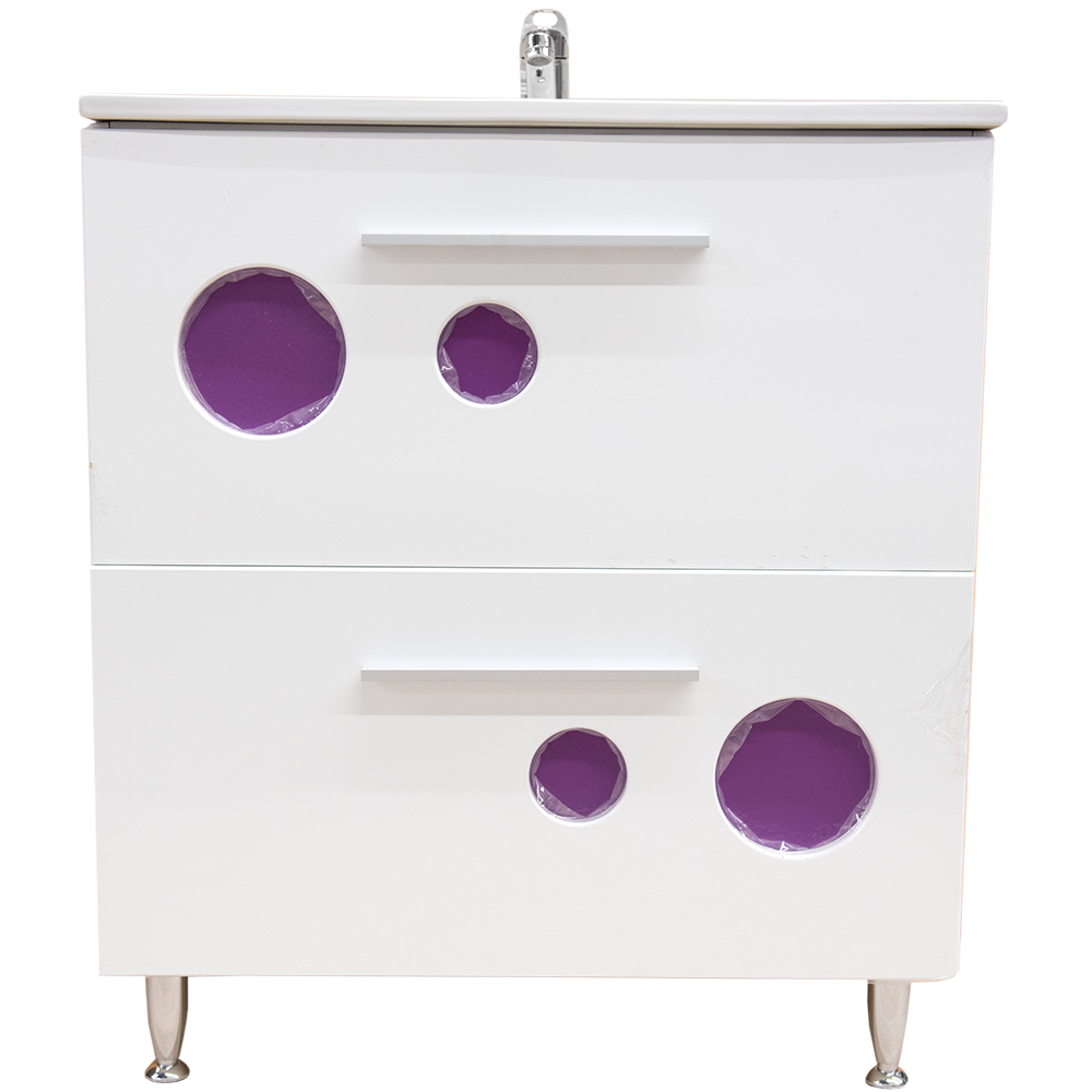 Mobilier de baie baza, lavoar Ella, alb/mov, 700 x 435 x 810 mm