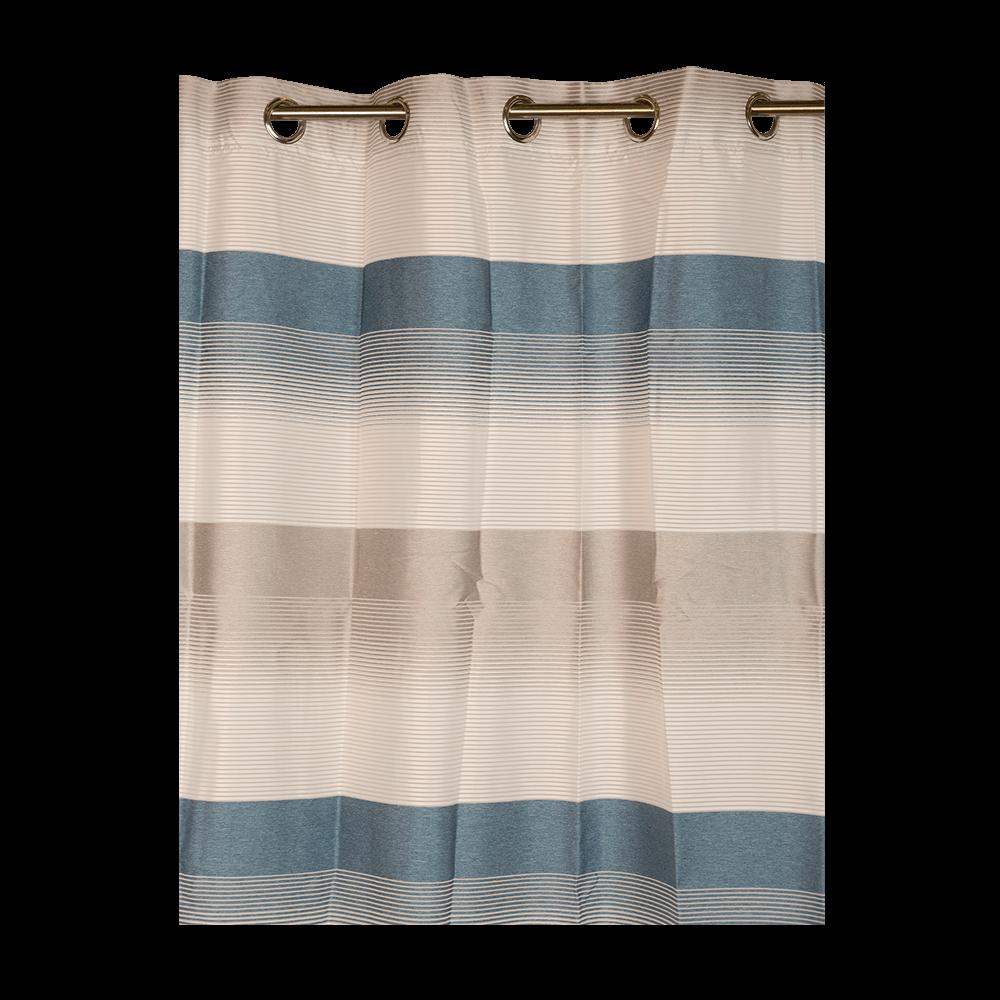 Perdea Ösenschal 2421, 140 x 245 cm, alba cu dungi bleu imagine 2021 mathaus
