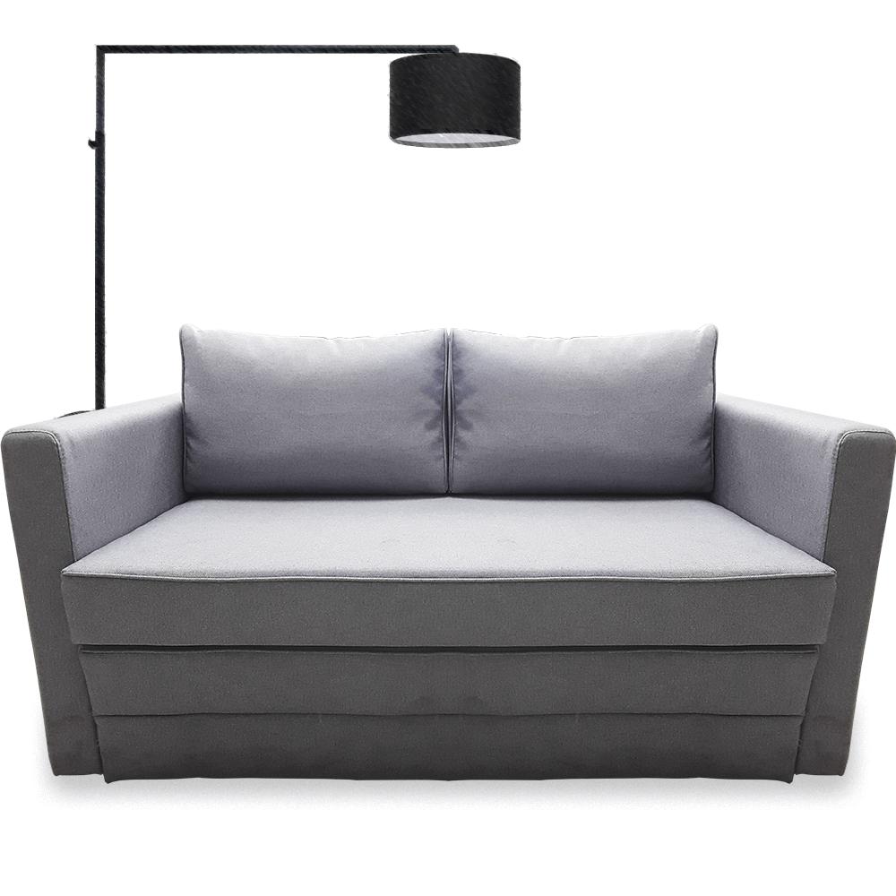 Canapea extensibila 2 locuri Young Twist Silver, 2 perne, 135 x 62-80 x 75 cm imagine 2021 mathaus
