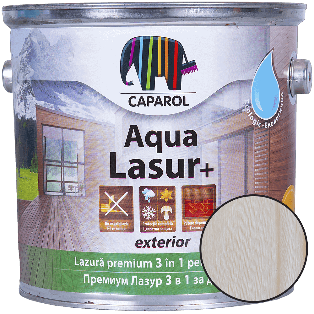 Lazura pentru lemn de exterior Caparol Aqua Lasur +, alb,2,5 l imagine 2021 mathaus