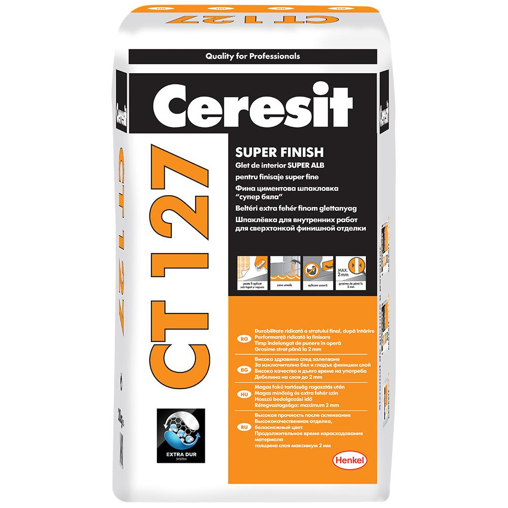 Glet Ceresit CT127 pentru finisaje fine, pe baza de ciment, interior, 5 kg