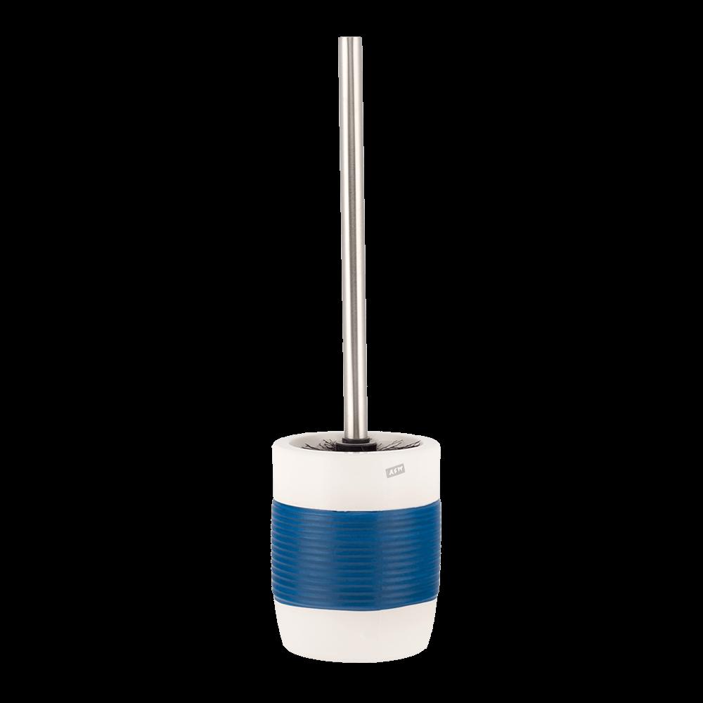 Perie WC Romtatay Moorea, ceramica, alb-albastru, 11.5 x 40 cm imagine 2021 mathaus