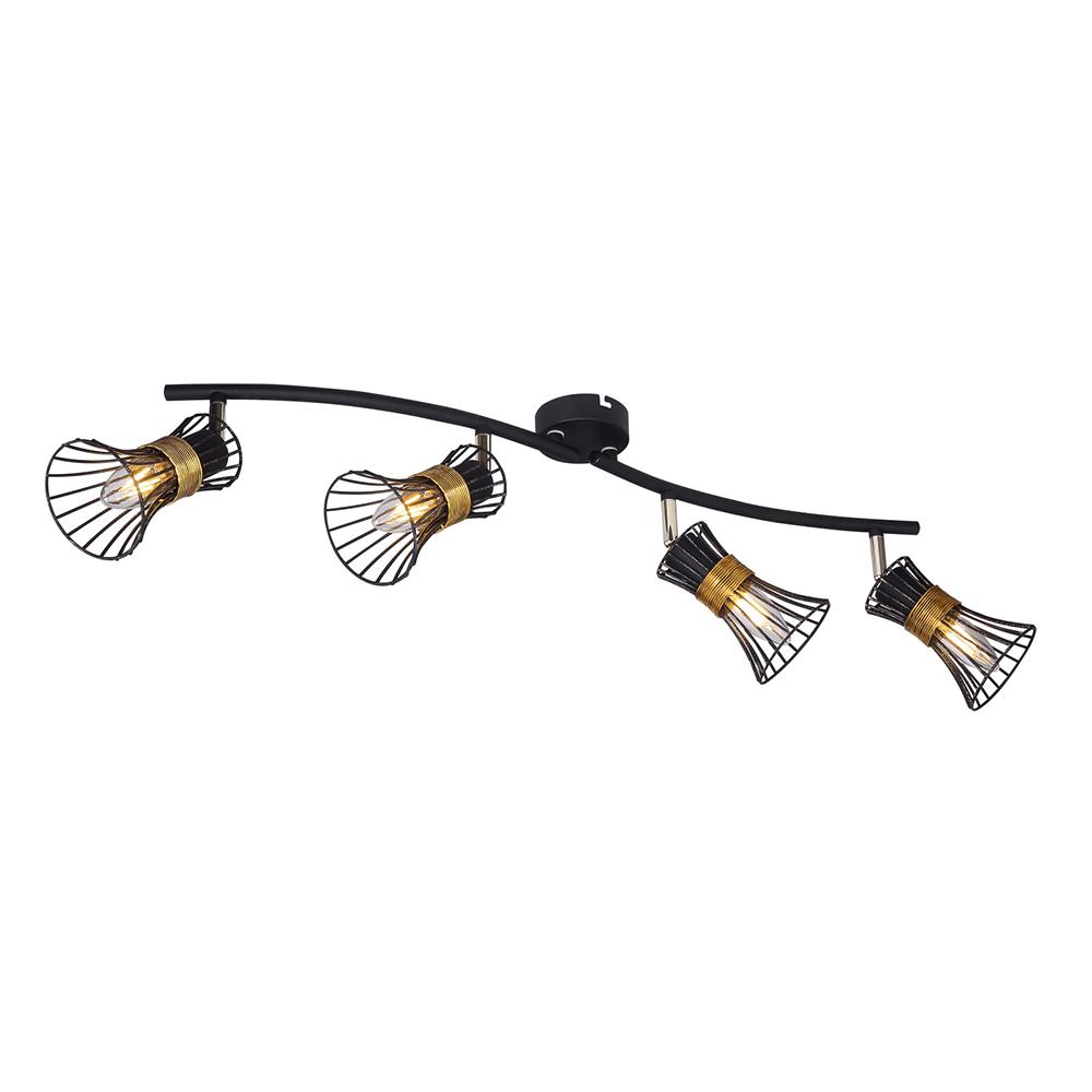 Plafoniera spot Purra, 4 x E14, 40W, negru + auriu imagine MatHaus.ro