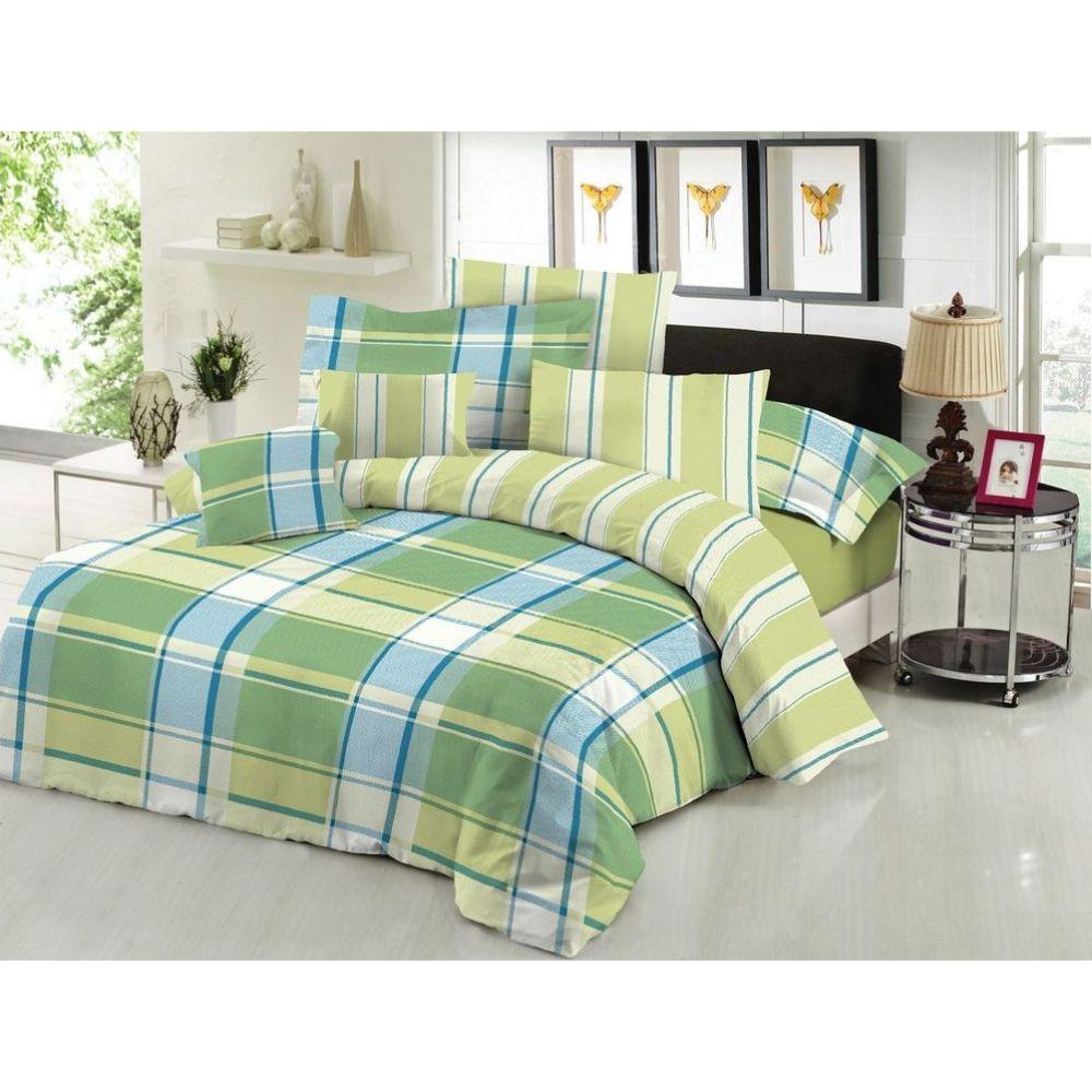Lenjerie pat Minet Conf, 2 persoane, bumbac 100% , 4 persoane, model patrate, verde - albastru