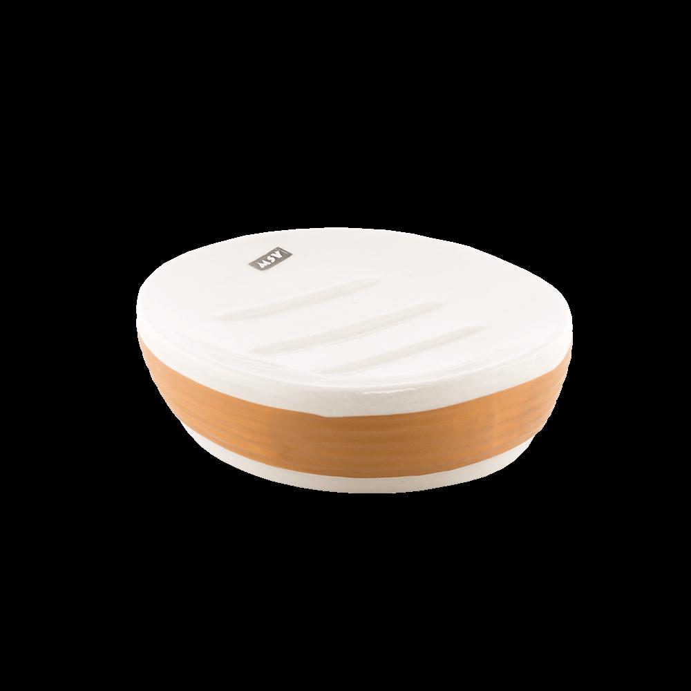Savoniera Romtatay Moorea, ceramica, alb-bej, 12.5 x 9 x 3.5 cm mathaus 2021