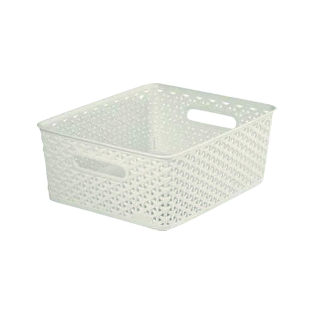 Cutie depozitare, tip rattan, plastic, alb, 13 l, 355 x 296 x 135 mm imagine MatHaus.ro