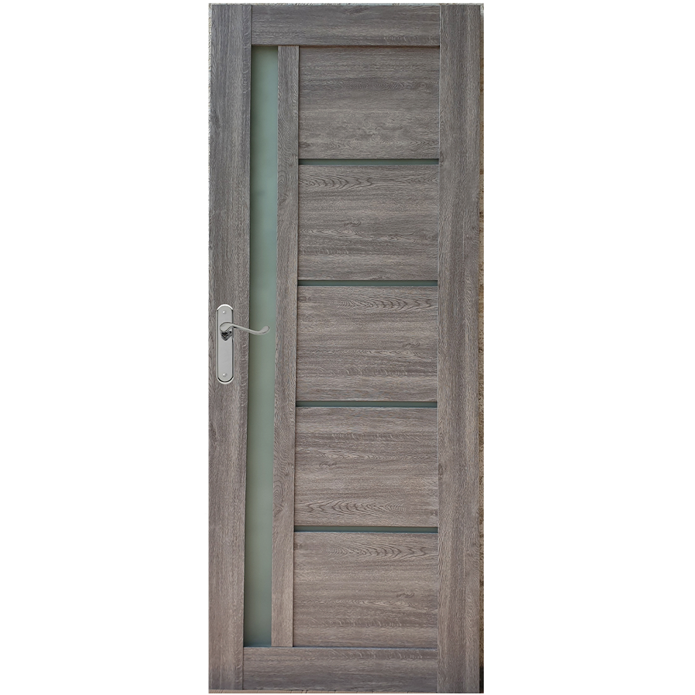 Usa interior cu geam Pamate U72, gri, 203 x 80 x 3,5 cm + toc 10 cm, reversibila