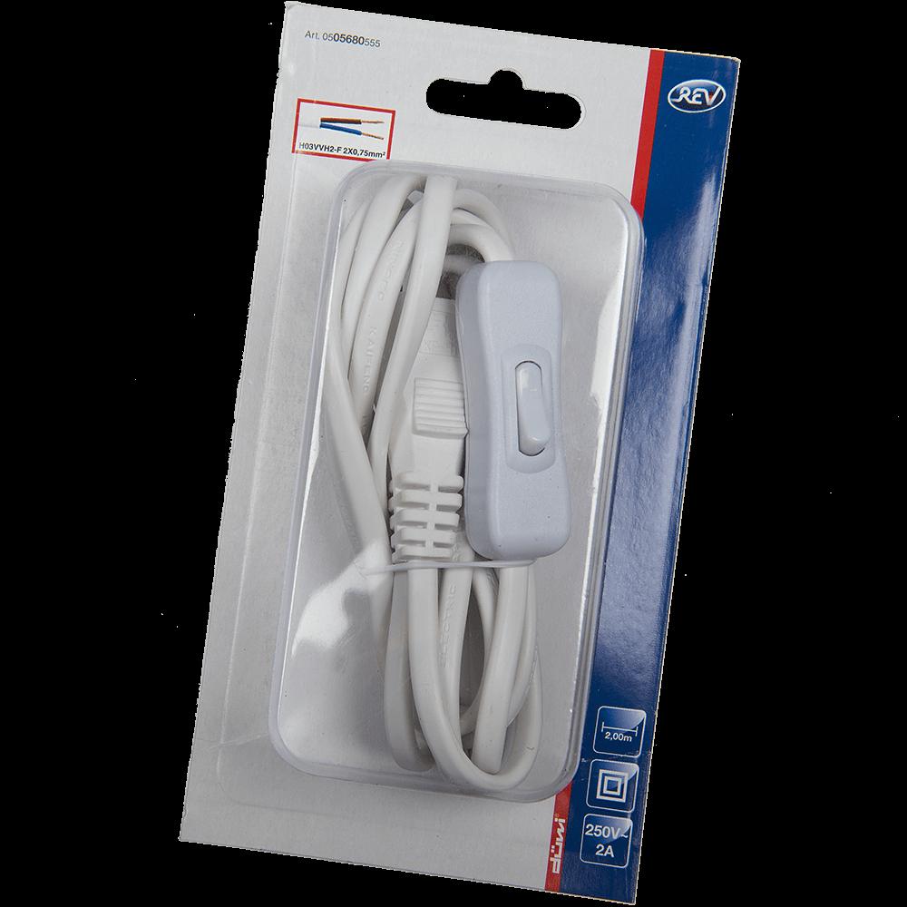 Cablu + intrerupator + stecher, Euro, 2m, 2 x 0.75mm