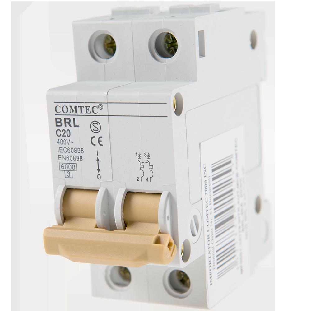 Intrerupator automat bipolar MCB 6kA 20/2/C
