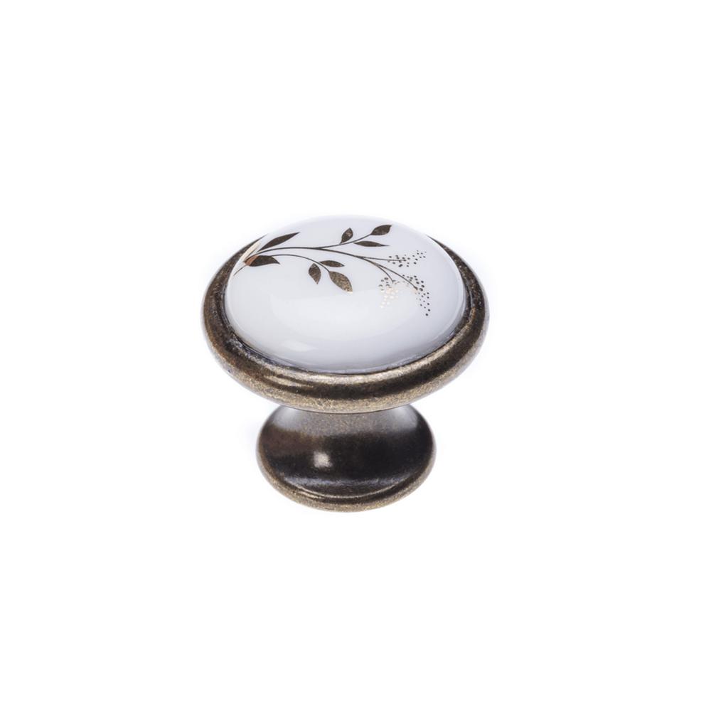 Buton metalic Monica, rotund, finisaj antichizat, insertie ceramica + model pictat imagine 2021 mathaus
