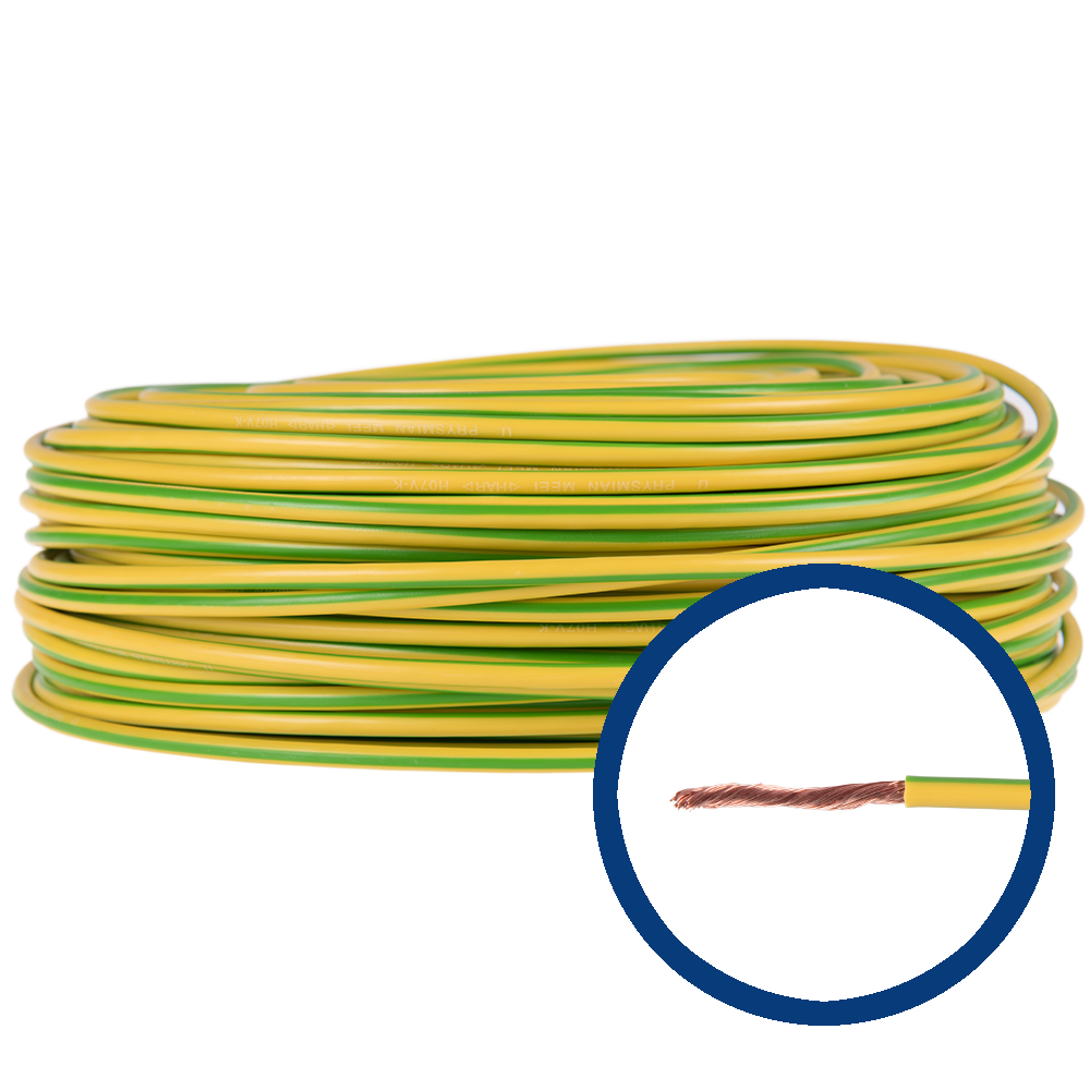 Cablu electric MYF (H05V-K) 6 mmp, izolatie PVC, galben-verde imagine 2021 mathaus