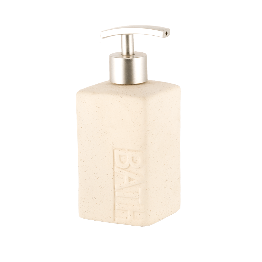 Dozator sapun lichid Romtatay Koh Tao, ceramica, crem, 7 x 7 x 16,5 cm