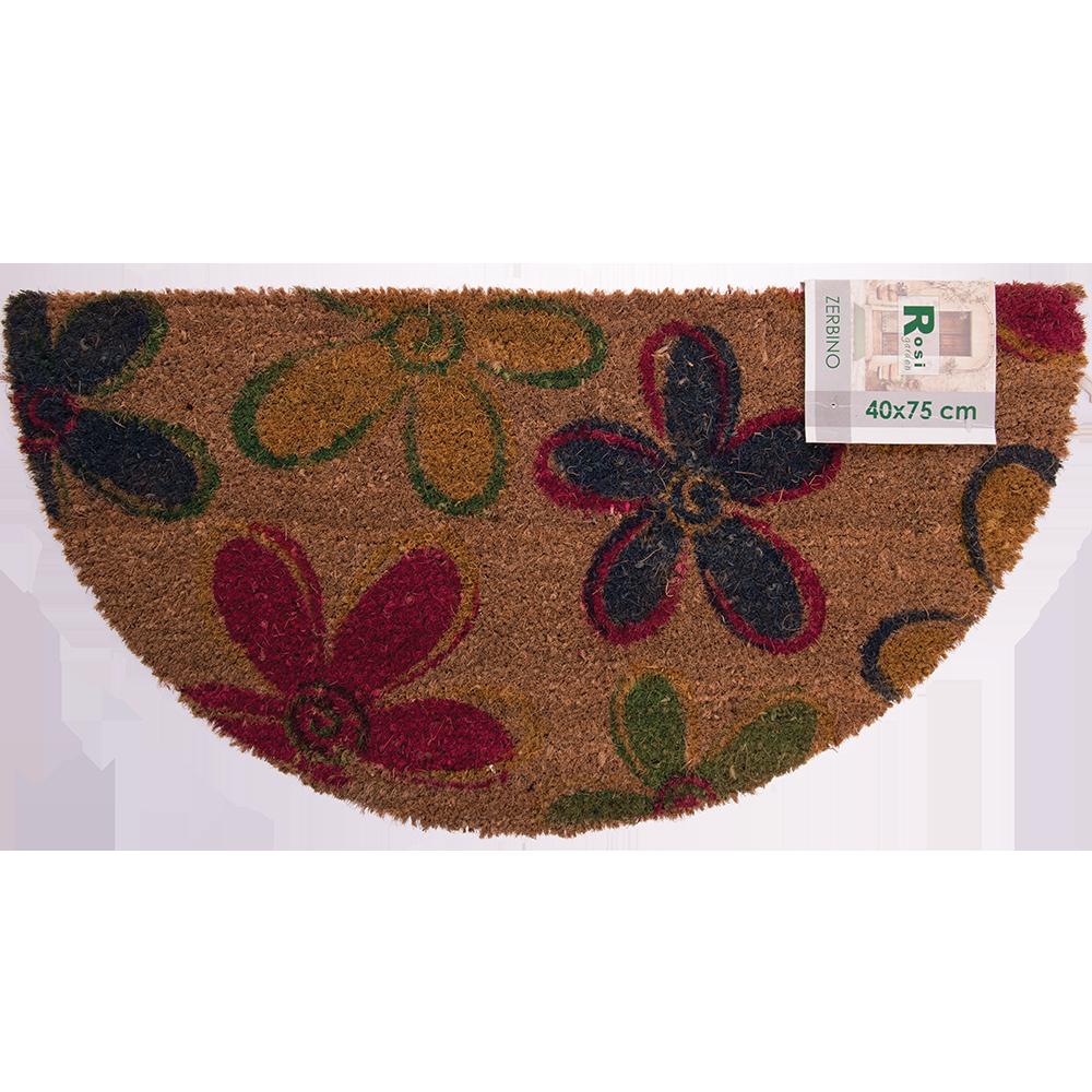 Stergator intrare Bahia, model cu flori colorate, 100% fibra de nuca de cocos, semiluna, 40 x 75 cm mathaus 2021