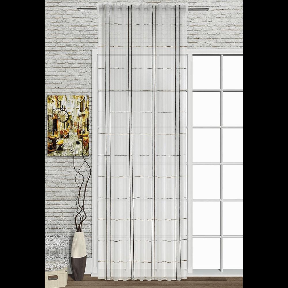 Perdea voal, alb cu dungi gri, 140 x 245 cm imagine 2021 mathaus