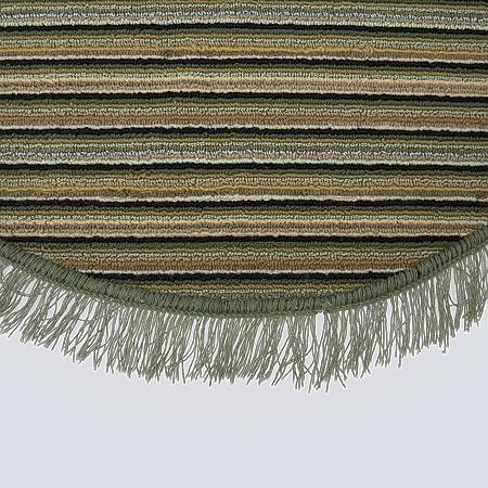 Covor bucatarie Niagara, 100% polipropilena, model oval cu dungi verde-bej, 85 x 135 cm