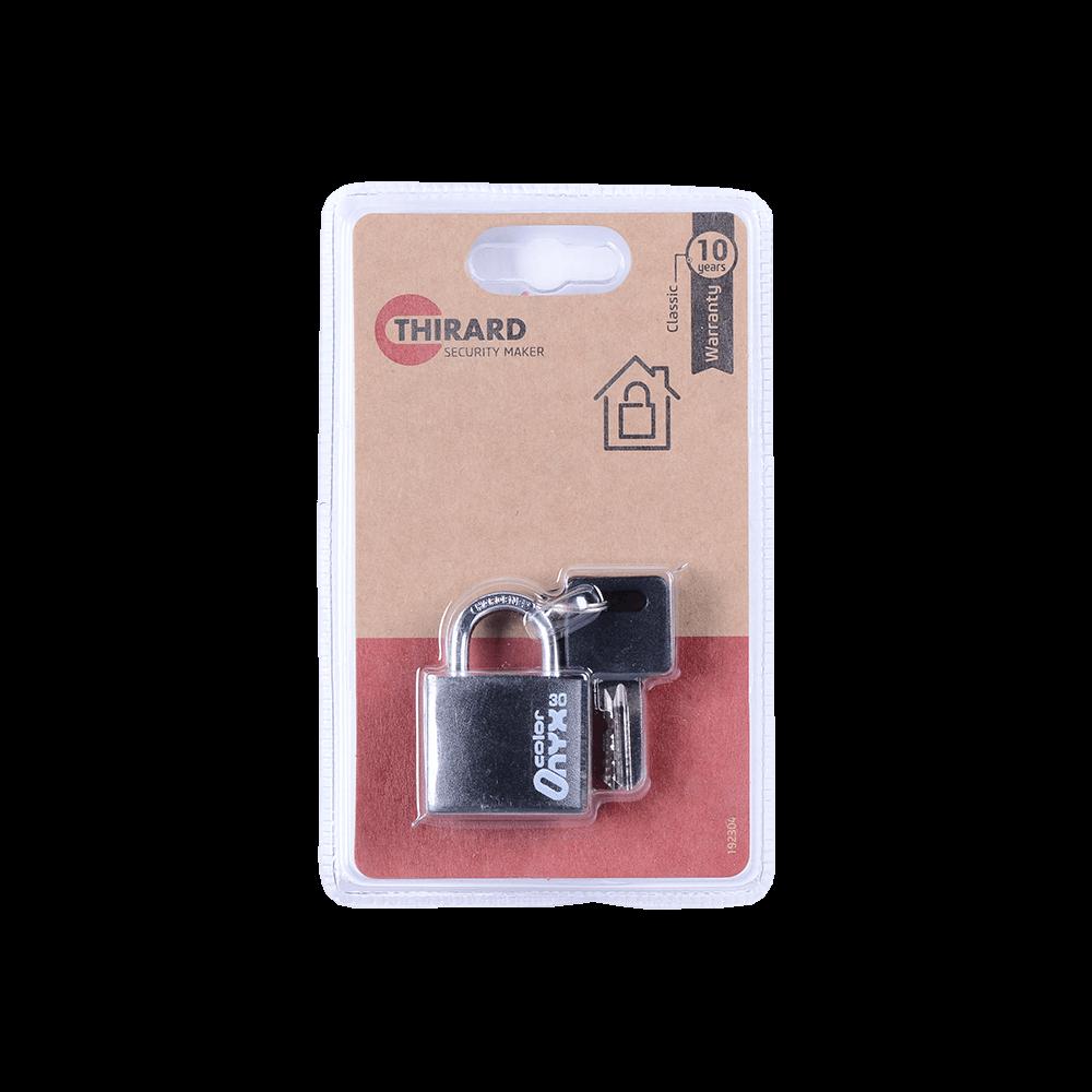 Lacat din aluminiu, Thirard Type 1 Alu Color, l 30mm, invelis protector, 2 chei imagine MatHaus.ro