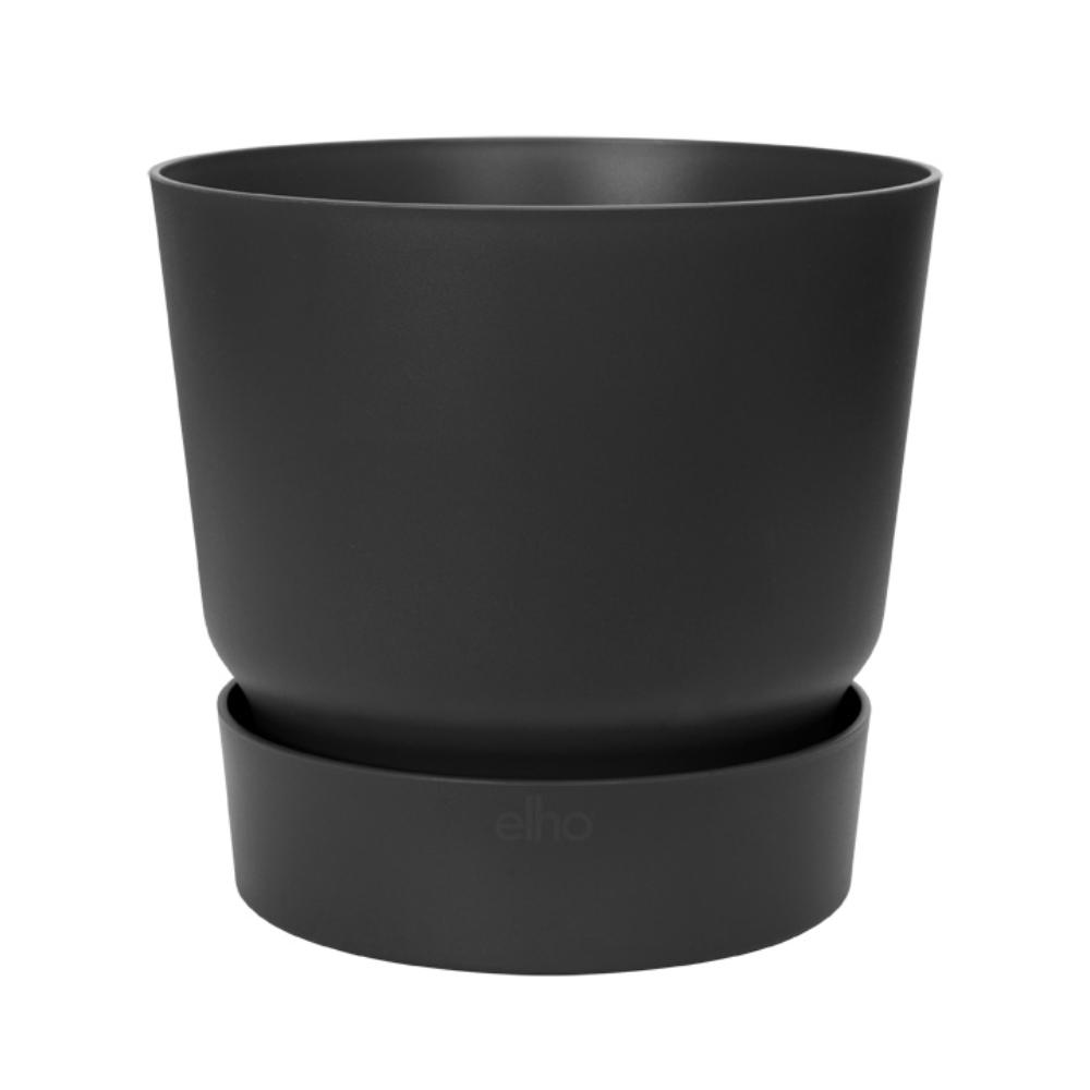 Ghiveci Elho Greenville, plastic, negru, 13.3 l, diametru 29.5 cm, 27.8 cm imagine MatHaus.ro